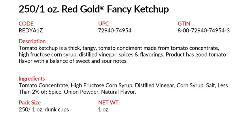Image of detail on 1 oz Red Gold Foodservice Folds of Honor 1 oz dip cup ketchup