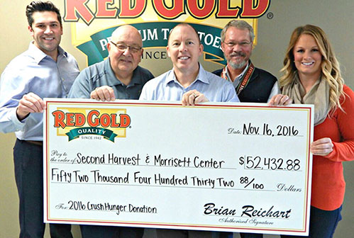 2016 Crush Hunger Donation from Run to Crush Hunger Red Gold Tomatoes