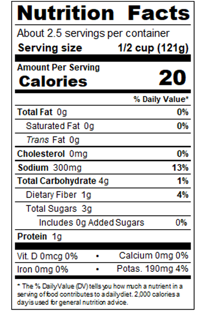 BE10_Hot Diced Tomatoes with Habanero RO-Style 10 oz_Nutrition Label