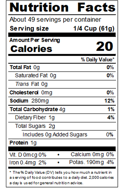 REDHA99_RedGold_TomatoSauce_#10Can_106OZ_Nutrition Label