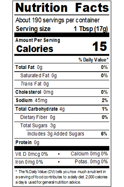 REDYL99_RedGold_TomatoKetchup_MadewithSugar_NatBalanced_#10Can_114OZ_Nutrition
