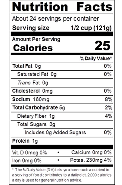 Red Gold Diced Tomatoes Nutrition Label