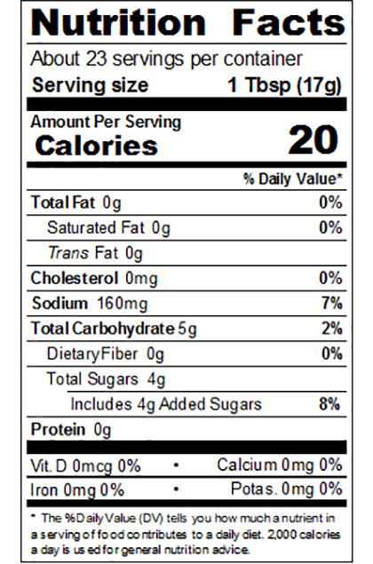 Regular Ketchup Nutrition Label