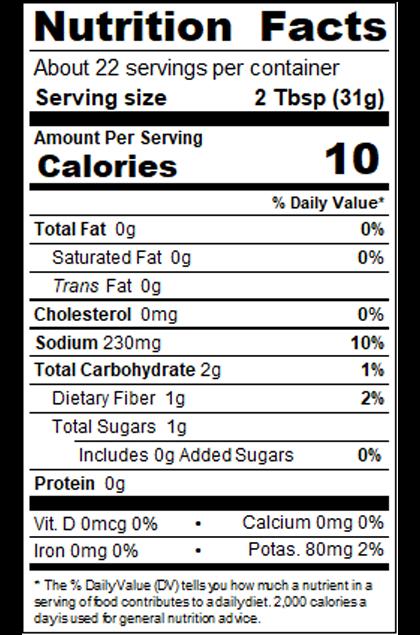 Red Gold Private Brand_SDA4_24 oz Medium Salsa - T Style_Nutrition
