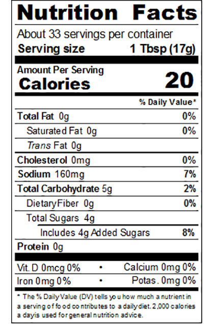Regular Ketchup Nutritional Label