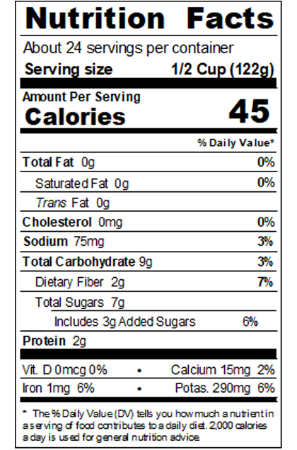 VINHM99_Low Sodium Tomato Sauce_Nutrition_Food Service