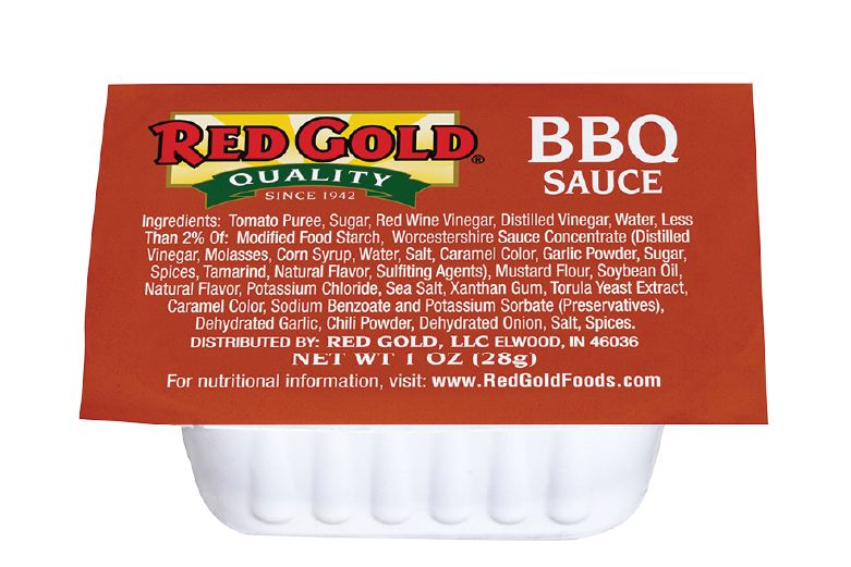 An image of a 1 oz cup of Red Gold Barbecue Sauce.