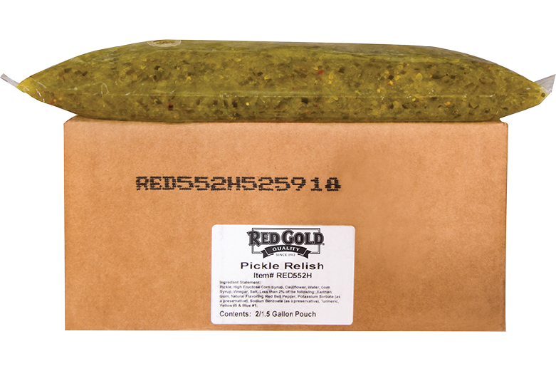 An image of a 1.5 gallon pouch of Red Gold Relish.